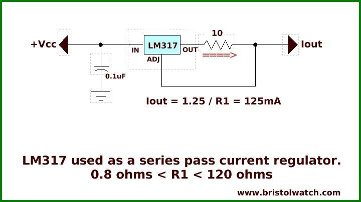 LM317 used as a series pass constant current source with a single resistor.