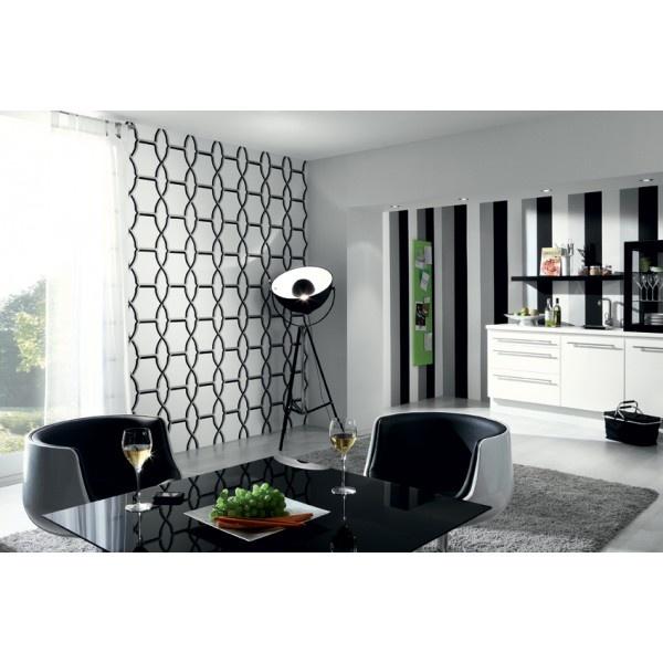 Papier Peint Noir Et Blanc Chambre : Papier peint noir et blanc à motifs claustra