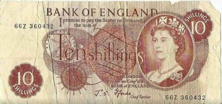 The Ten Bob Note! If you got one of these in your birthday card you were really lucky.