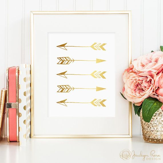 Gold arrow print, tribal print with gold foil art great in tribal themed home, arrow printable, gold tribal wall hanging, bedroom decor