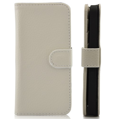 Wallet Shaped Magnetic Leather Case for iPhone 5-Beige