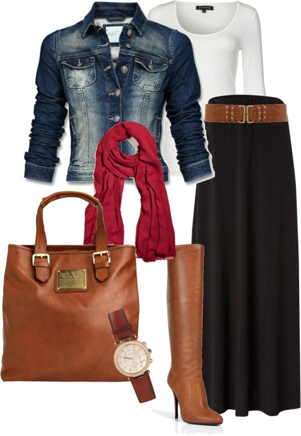 Wide belt works well with full length skirt. Nice tall boots would be hidden though. Perfect bag/boot combo. red scarf accents the black and tan except for top, jacket