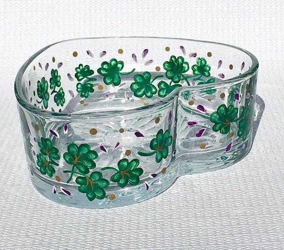 Heart Bowl With Hand Painted Shamrocks and Purple Flowers  #heartbowl #candydish #stpatricksday #irishgifts #shamrockbowl #mothersdaygift #irishdecor #handpaintedbowl