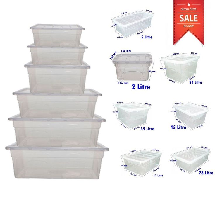 Plastic Storage Boxes Large Clear Box Lidded Stackable Chest Container UK Made AMAZING PRICE / BEST SELLING IN UK / BULK SELLER