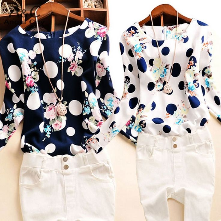 M 4XL!! Spring Summer 2015 Lady Women Polka Dot Floral Printed O Neck Long Sleeve Roll up Cuffs Tops Blouses 36-in Blouses & Shirts from Women's Clothing & Accessories on Aliexpress.com | Alibaba Group