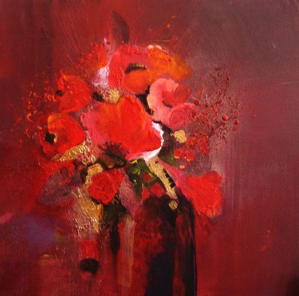 Malerei, Abstrakt, Blumen, Rot