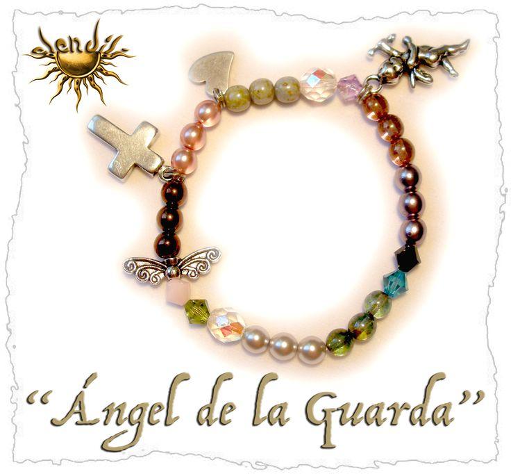 """Otra pulsera con """"historia"""", esta vez es para rezar al Ángel de la Guarda.   Y esta es la oración hecha bolitas:  Ángel de la Guarda (angeli..."""