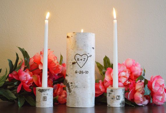 Rustic Unity Candle, Monogram Ceremony Wedding Unity Candle, Personalized Unity Birch Candle Holder Set with Wedding Date by TheCreativeQ