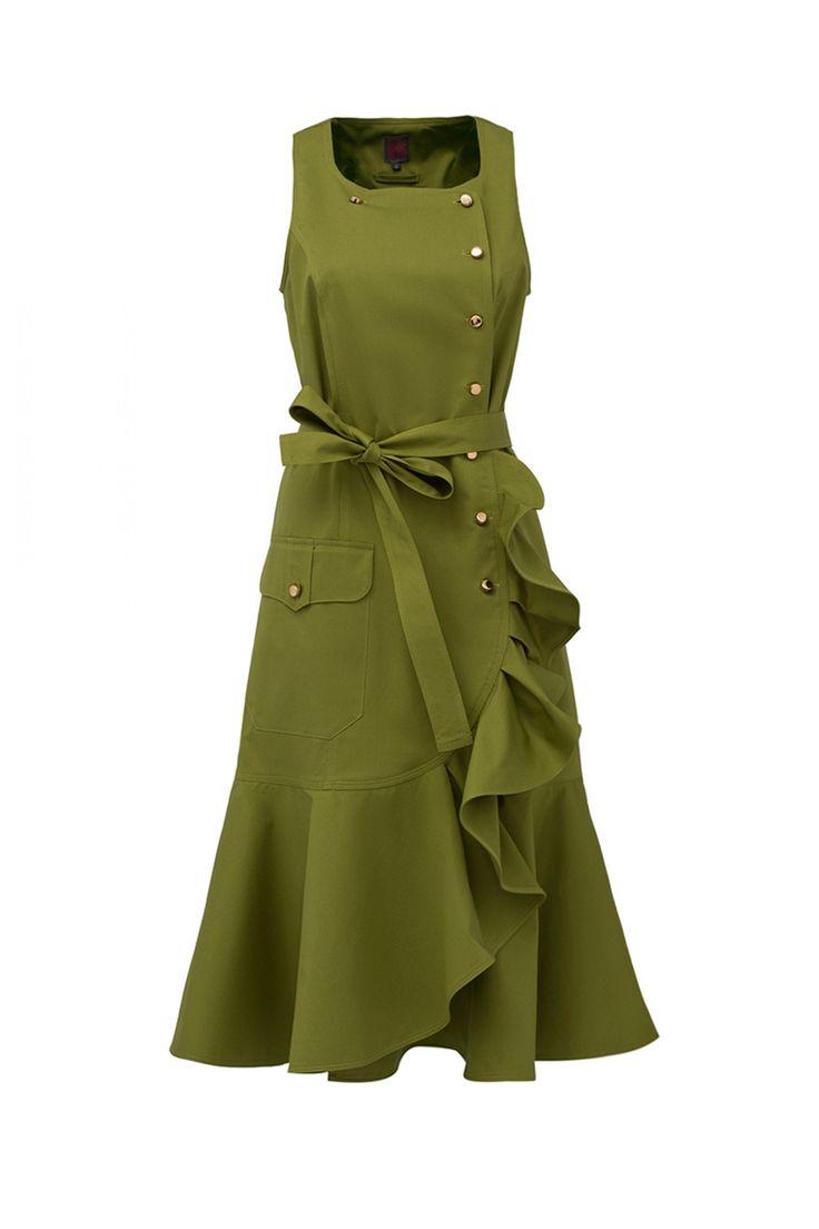 Платье зеленое с воланом