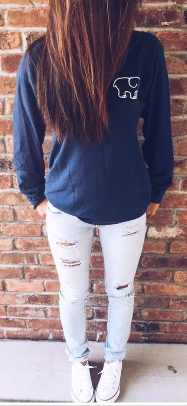 « ivory ella brand dark blue long sleeve top + bleached / faded and ripped jeans + white converse »