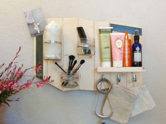Étagère salle de bain,rangement mural maquillage,organisateur,design, bois métal,cadeau crémaillère,décoration maison,pots en verre, crochet