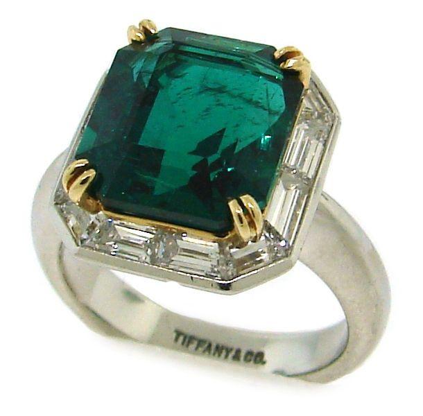 1stdibs   Tiffany & Co. 6.26 cts Step Cut Emerald, Diamond Platinum Ring