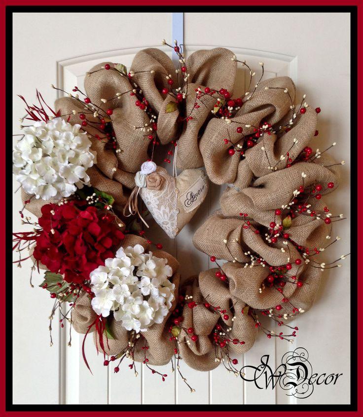 Burlap Wreaths Valentines Wreaths Heart Wreath Berries Red White Hydrangeas by JWDecor on Etsy https://www.etsy.com/listing/175204540/burlap-wreaths-valentines-wreaths-heart