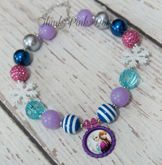 Frozen Girls Chunky Necklace  Elsa and Ana Frozen by ThinkPinkBows, $9.95