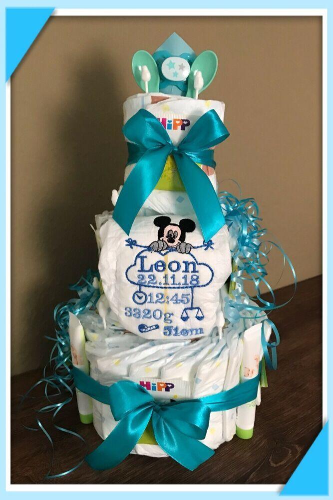 ❤️Bestickte Windel❤️Geburtsdaten für Baby's z Taufe o Geburt super Geschenkidee