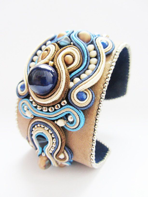 SOUTACHE KIT Soutache Embroidery Soutache Bracelet Handmade soutache Bracelet Designer soutache bracelet with leather. $53.00, via Etsy.