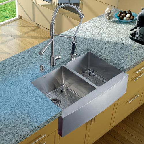 farmhouse stainless steel kitchen sink faucet two grids two strainers and dispenser. beautiful ideas. Home Design Ideas