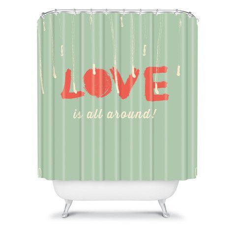 Hello Twiggs Love Is All Around Shower Curtain