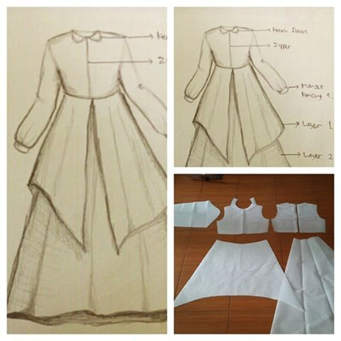 Gamis dress pattern with collar and flare skirt and pleats. Order via line: modelliste #modellistepattern #gamispattern #polagamis #gamis #poladresspanjang #poladress #dress #jualpola