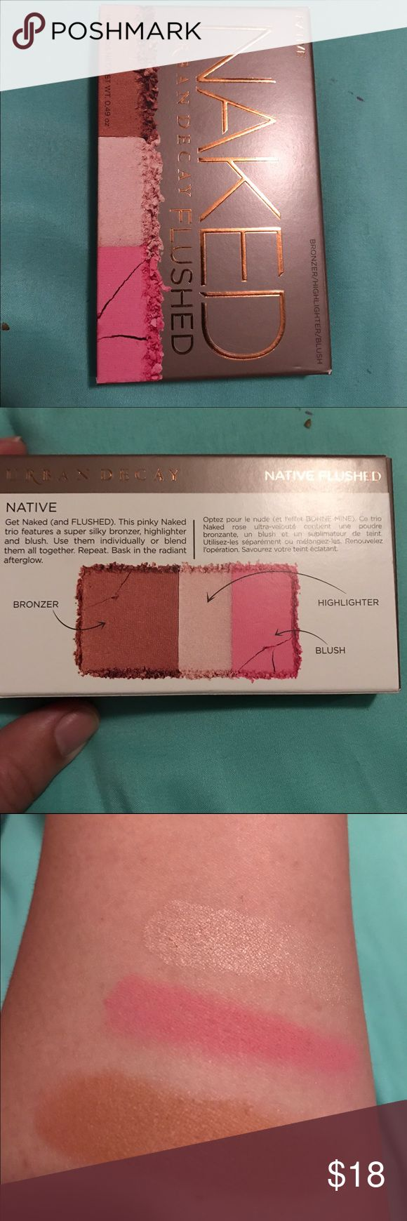 Urban Decay Naked Flushed palette in Native Brand new, in box.  Bought multiple with intention of using as bridesmaid gifts but ended up w one too many.  Swatches are from my other palette.  Non smoking home and quick shipping guaranteed.  Thanks for your interest! Urban Decay Makeup Blush