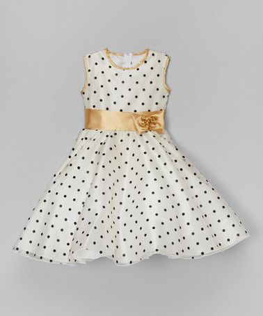 Loving this White & Gold Polka Dot A-Line Dress - Infant, Toddler & Girls on #zulily! #zulilyfinds