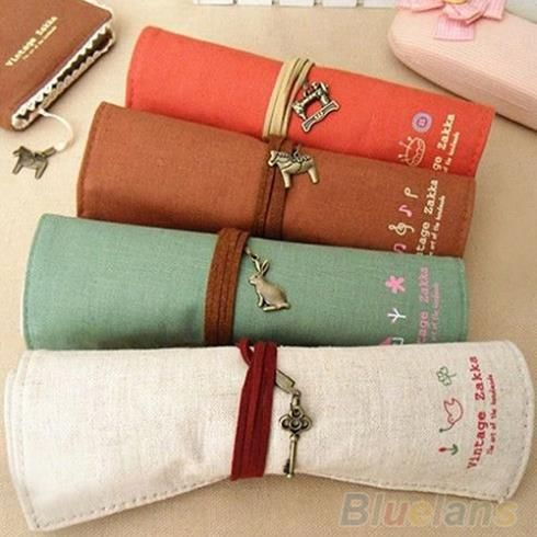 Fantastic !!! HOT Canvas Bag Holder Wrap Roll Up Stationery Pen Brushes Makeup Pencil Case Pouch 1HPC