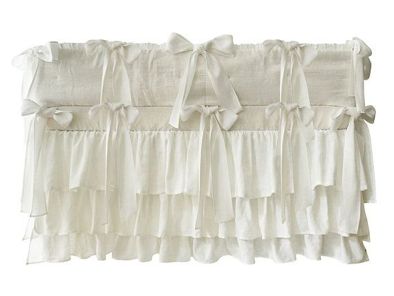 Crib skirt length for adjustable height? Our smart crib skirt fits all three crib positions! Custom color natural linen ruffle crib skirt - two