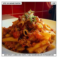 This spicy sausage rigatoni is a handy way to use up Slimming World sausages - nice and easy to make too, and only one syn! Remember, at www.twochubbycubs.com we post a new Slimming World recipe nearly every day. Our aim is good food, low in syns and served with enough laughs to make this dieting business worthwhile. Please share our recipes far and wide! We've also got a facebook group at www.facebook.com/twochubbycubs - enjoy!