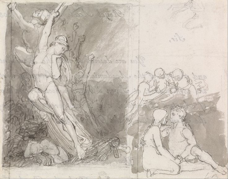 John Flaxman - Illustration to Milton's Paradise Lost- Adam and Eve Guarded by the Angels - Google Art Project - Category:Adam and Eve in paintings - Wikimedia Commons