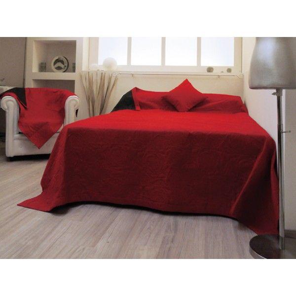 Couvre-lit matelassé double face ORCHIDéE rouge - Linge et maison