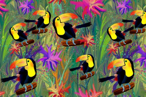 RAINFOREST TOUCAN BIRD LARGE  EXOTIC FLOWERS JUNGLE fabric by paysmage on Spoonflower - custom fabric