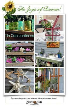 The Joys of Summer Decorating! Summer projects galore, and a themed link party that never closes! Come link up or be inspired! via Funky Junk Interiors