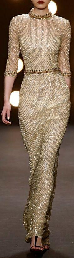 Gold evening gown by  Naeem Khan