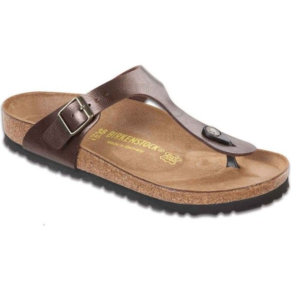 Birkenstock Women's Gizeh Toffee Birko-Flor Thongs & Flip-Flops ($95) ❤ liked on Polyvore featuring shoes, sandals, flip flops, brown, thong sandals, nubuck shoes, toe thongs, arch support sandals and birkenstock sandals