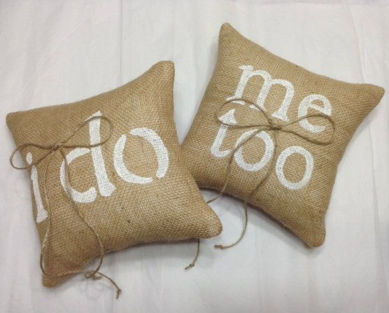 Burlap RIng Bearer Pillow Set - I Do & Me Too for weddings with two ring bearers. Perfect for the rustic wedding with simple style of burlap and hand painted stenciling to accent the promises made.  https://www.etsy.com/listing/105114168/ring-pillow-burlap-ring-bearer-pillow-i?ref=shop_home_active_7 www.sherisewsweet.etsy.com