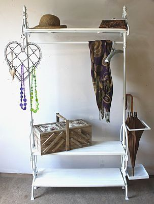 White Metal And Wood Clothes Rail Shoe Rack And Umbrella Stand: Amazon.co.uk: Kitchen & Home