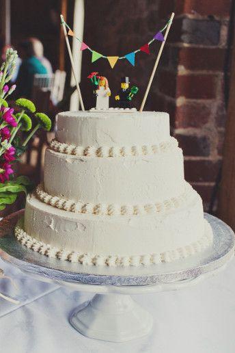 Real #wedding cake ideas - Lego wedding ideas: http://www.weddingandweddingflowers.co.uk/article/256/lookbook-real-wedding-cakes