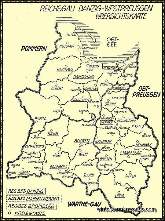 Reichsgau Danzig-Westpreußen: Übersichtskarte.1940