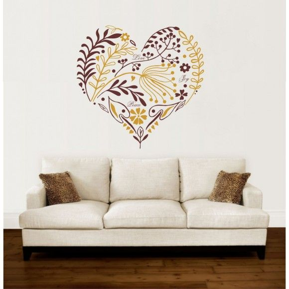 Beautiful vinyl wall art sticker in 'Heart' design.  Made in the UK  http://www.madecloser.co.uk/home-garden/homeware-and-furniture/decorative-heart