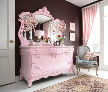 Hello big pink french looking dresser that I would redecorate my entire house to accommodate...
