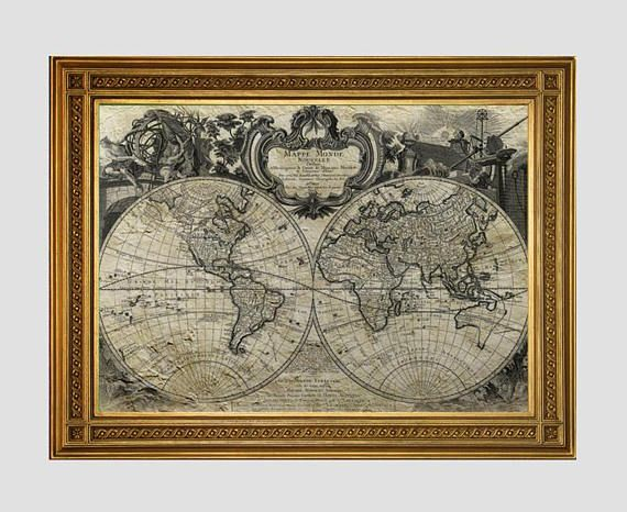 Mejores 56 imgenes de cityscape world map wall art en pinterest antique world map print vintage map old world map art gift for historian gumiabroncs Gallery
