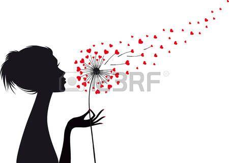 soffione: donna in possesso di tarassaco con battenti cuori rossi, illustrazione vettoriale