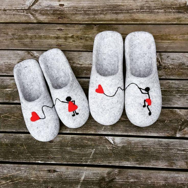 """wet felted wool slippers (@pamana.lv) on Instagram: """"Esi atradis savu mīļo sirsniņu❤ - nelaid to vējā!  Kāzu un mīlestības svinēšanas laiks turpinās💒 .…"""""""