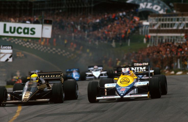 Ayrton Senna (Lotus) fights with Nigel Mansell (Williams) at the start of the 1985 European GP, Brands Hatch