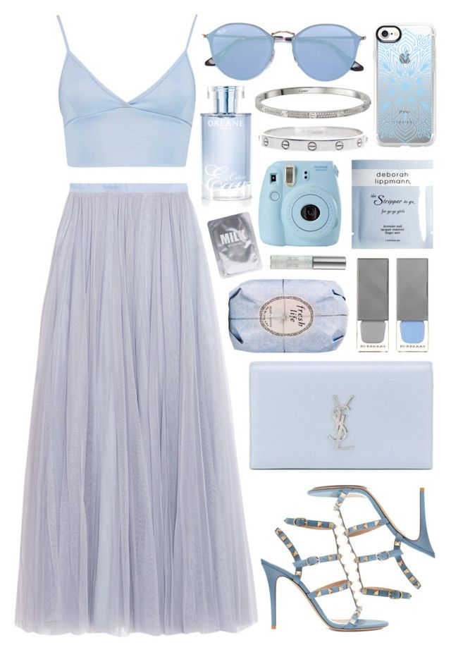 """""""Untitled #1011"""" by clary94 ❤ liked on Polyvore featuring Needle & Thread, Boohoo, Valentino, Yves Saint Laurent, Burberry, Ray-Ban, Casetify, Orlane, Fresh and Deborah Lippmann"""
