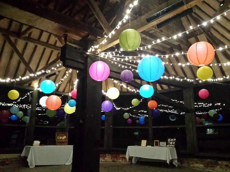 The Engine Room. @lillibrooke_weddings A beautiful bright canopy of fairy lights with multi coloured lanterns #lanternlove #hanginglanterns #berkshire #weddingday #wedding #eventprofs #fairylights
