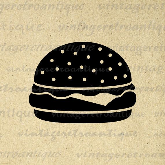 Printable Digital Hamburger Image Download Cheeseburger Graphic Artwork. High quality digital image illustration from vintage artwork for iron on transfers, printing, t-shirts, and more. This digital graphic is high quality, large at 8½ x 11 inches. Transparent background PNG version included.