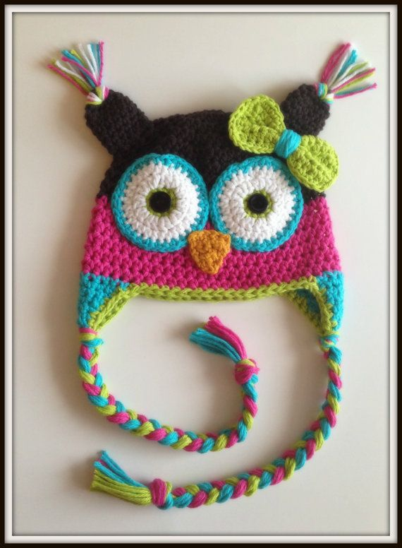 Crochet Owl Hat in Pink/Brown, Teal & Lime with Bow Hairclip, Girl Winter Hat ,Photo Prop