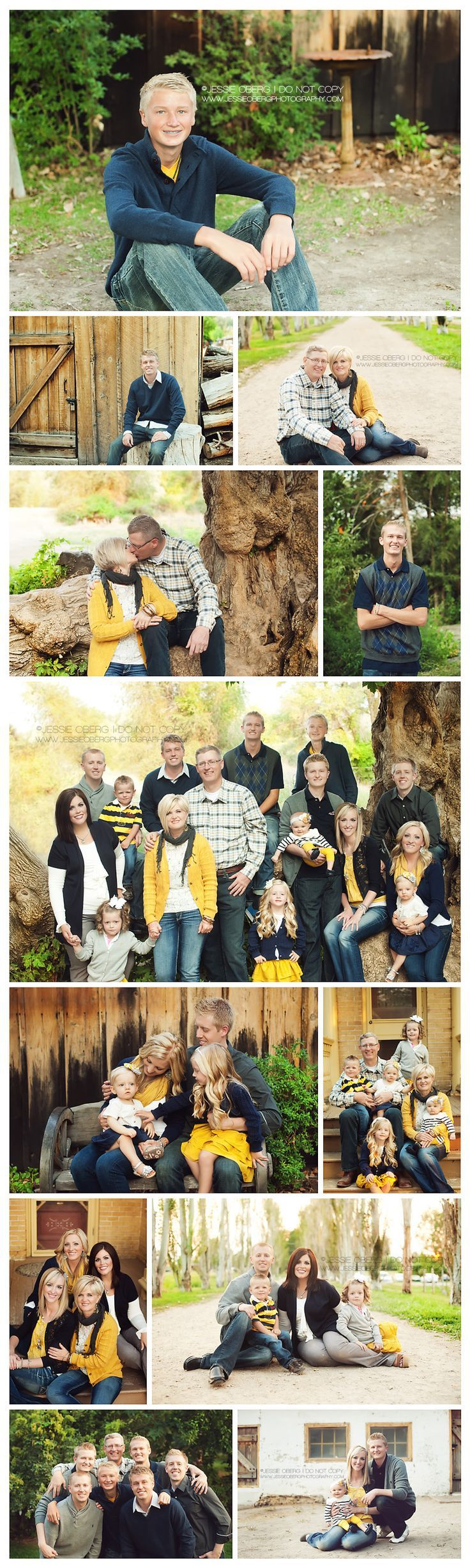 example of color pop in group photos...a great alternative to white ts and jeans or khakis worn with navy shirts.