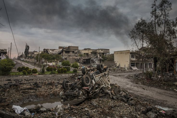 The aftermath of fierce fighting between Iraqi special forces and the Islamic State in western Mosul. Credit Ivor Prickett for The New York Times